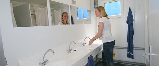 Sanitary cabin interior view